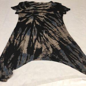 Asymmetrical tie dyed t shirt